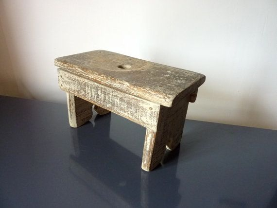 Very Cute Tiny French Vintage Milking Stool Garden Stool