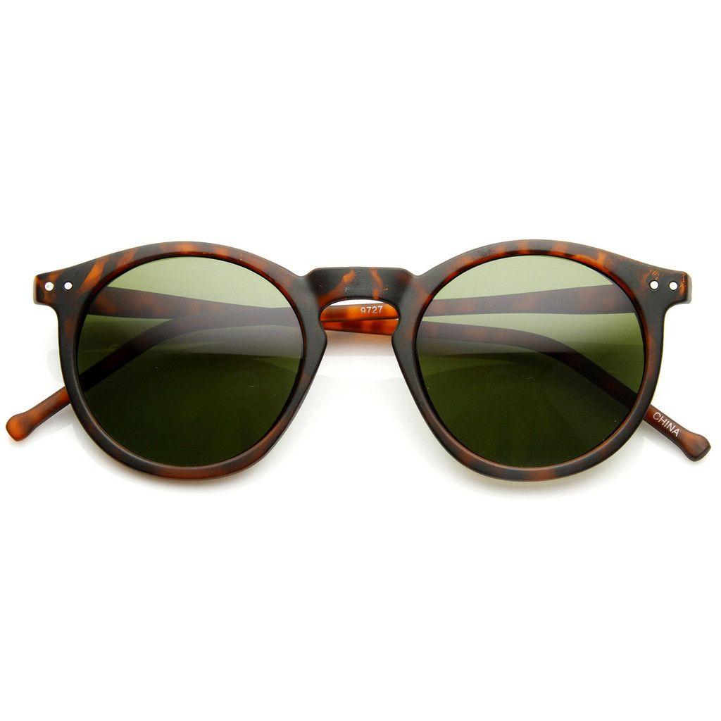 0daeec1bee Dapper Key Hole Vintage Horned Rim Round Circle Indie Sunglasses 8943