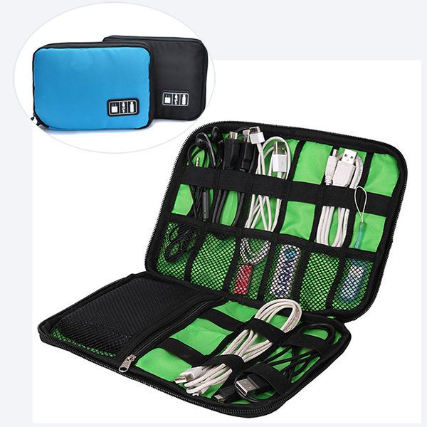 Multifunctional Canvas Multi-pocket Ipad Store Bag Phone Bag Date Line Digital Storage Bag