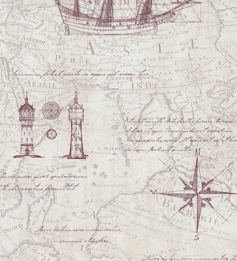 Papel pintado marinero mapas antiguos y barcos estilo navy - Papel pintado mapa ...