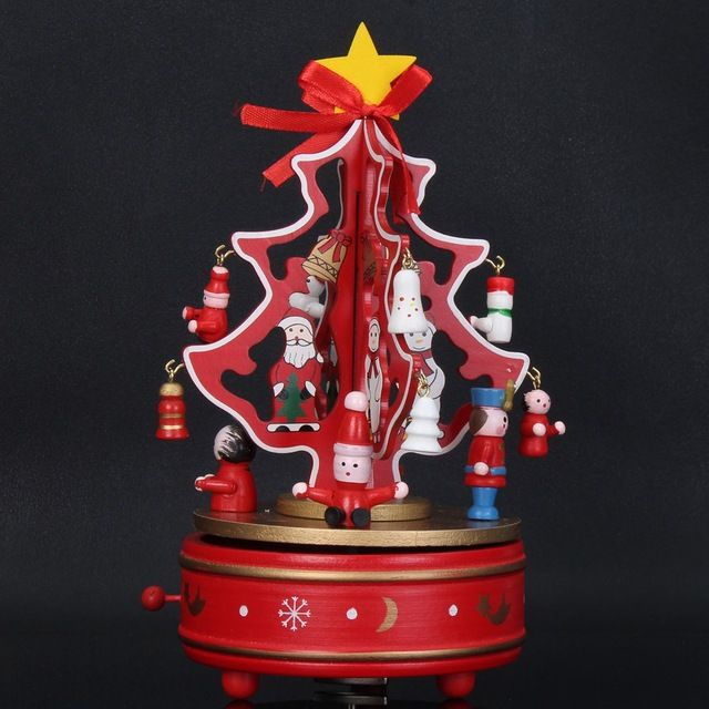 Wooden Christmas Tree Rotating Music Box Carousel Merry Go Round - christmas carousel decoration