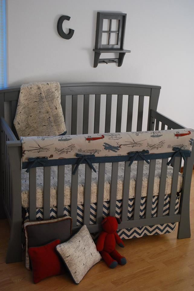 Vintage Airplane Fabric And Chevron With World Map On Crib