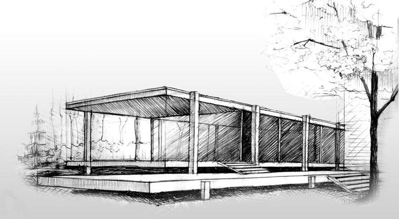 Farnsworth apuntes de dibujo farnsworth house house for Casa minimalista dwg