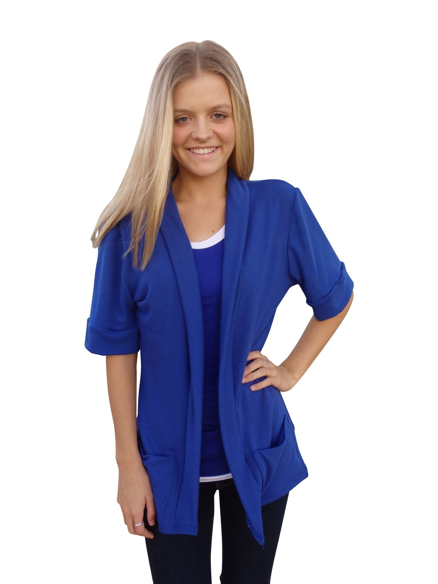 Royal Blue Shawl Collar Sweater Cardigan with Short Sleeves ...