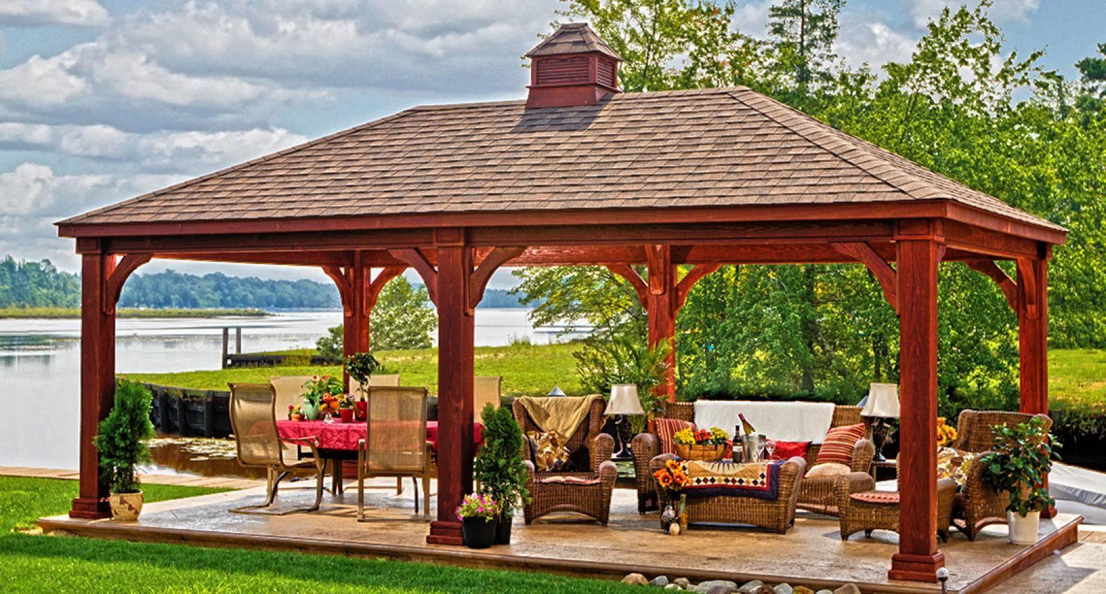 Wood Pavilion With Decorative Cupola