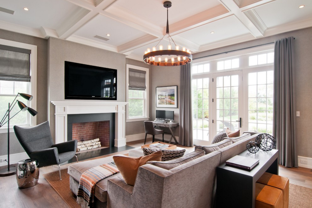 On Houzz: This Gray Family Room Features The Shade Store Drapery. Designed  By M.S.