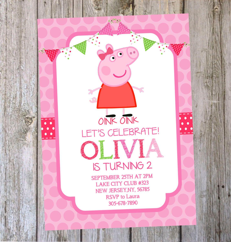 Printable Peppa Pig Birthday Invitation Digital file by ...