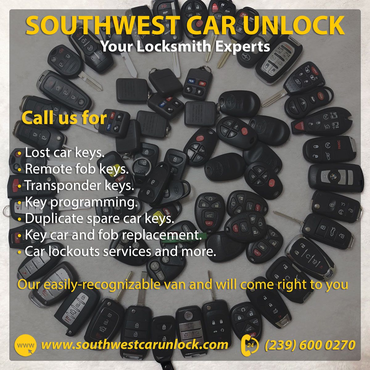Call us for lost car keys, key car and fob replacement