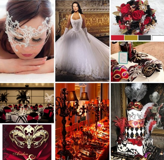 Masquerade Wedding Theme Ideas Inspiration Red Gold Black