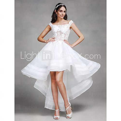 A-line Wedding Dress - Chic & Modern Asymmetrical Off-the-shoulder Organza with Beading / Lace 2017 - R$405.57