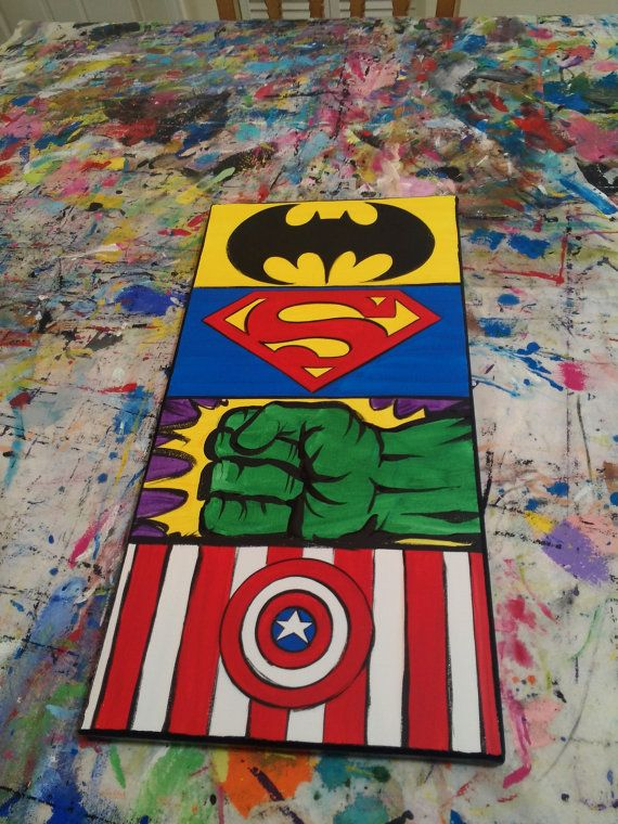 Custom Order 12 x 24 Canvas Wall Art: The Superheroes ...