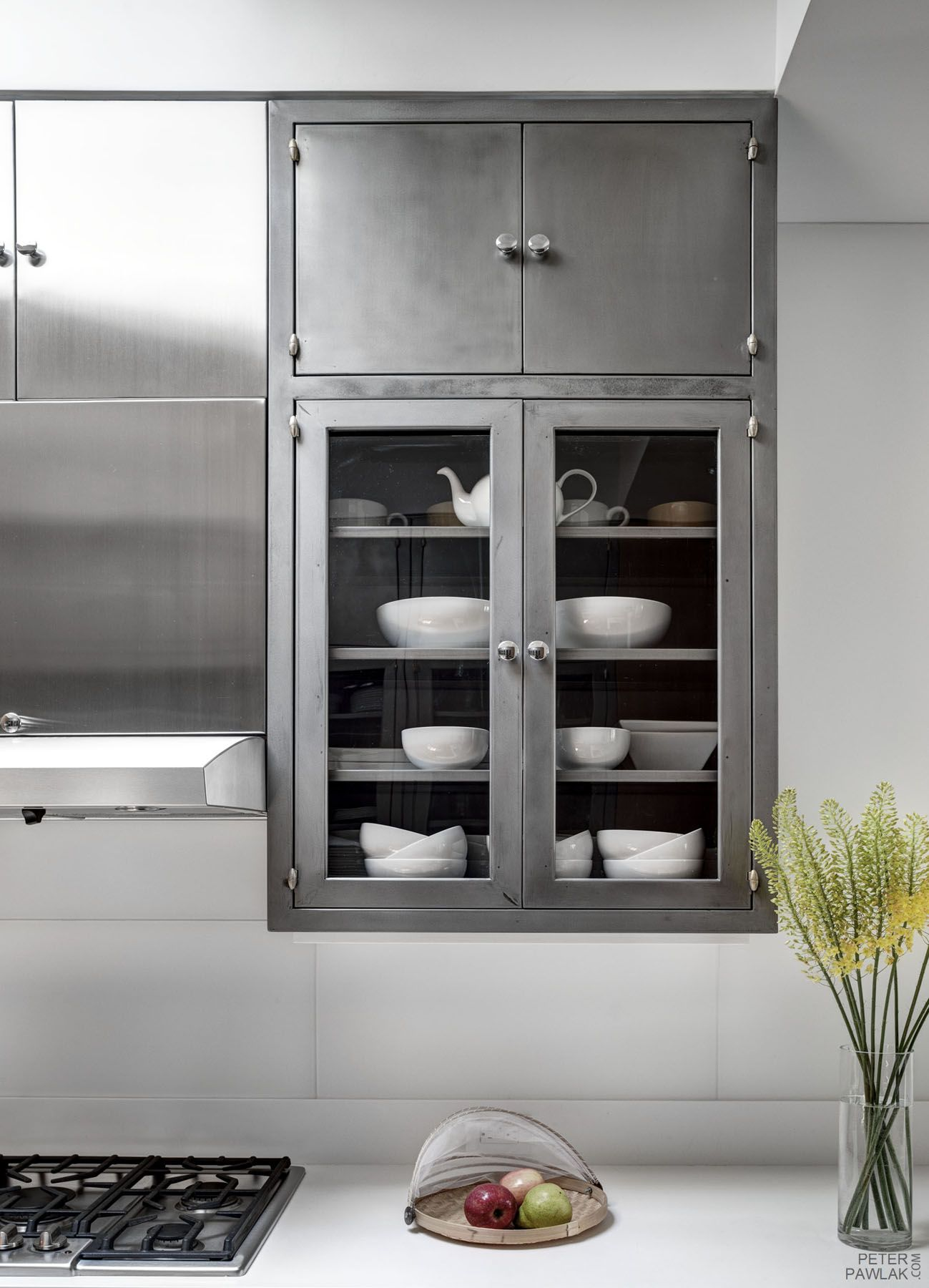 Old metal cabinets in white backdrop. | Metal kitchen ...