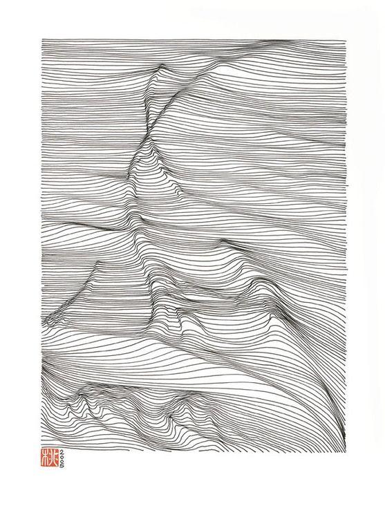 Contour Line Drawing Ink : Landscape ink drawing illustration using cross contour
