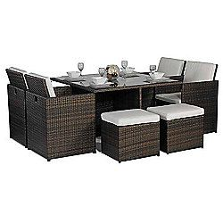 Giardino Small Glass Dining Table Cube Set with 4 Highback ...