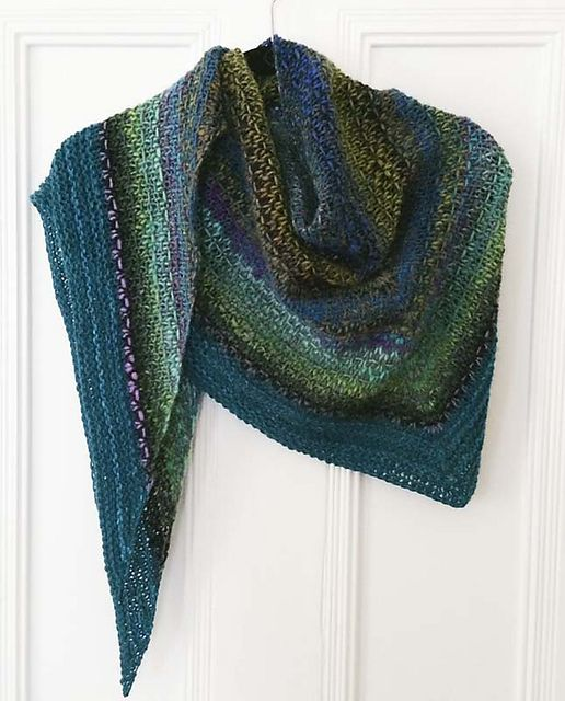 Knit On Size 9 Needles Ravelry Noro Woven Stitch Shawl Pattern By