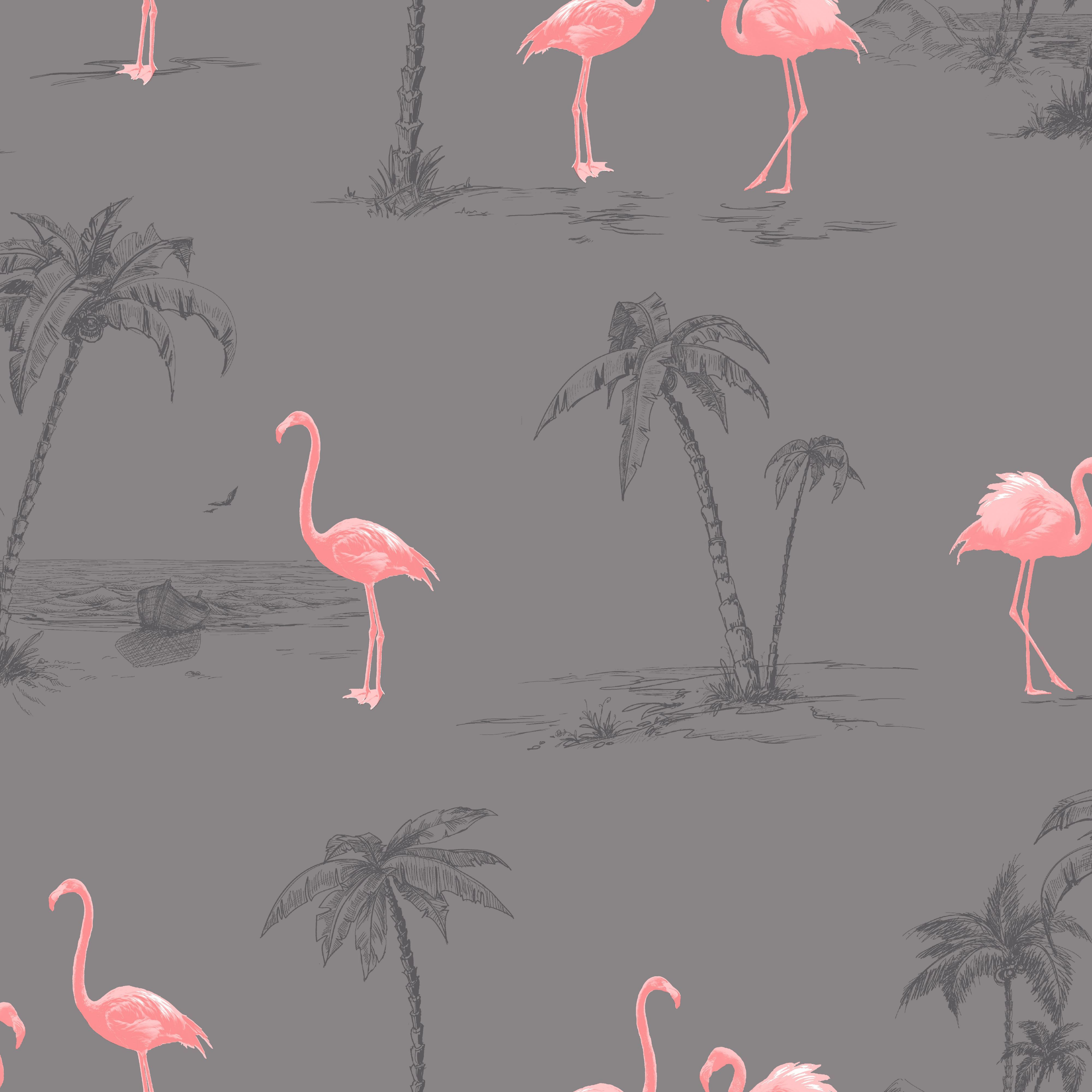 Colours Charcoal & Pink Flamingo Mica Wallpaper Pink