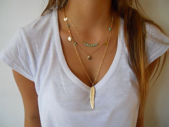 Feather pendant necklace by annikabella on Etsy