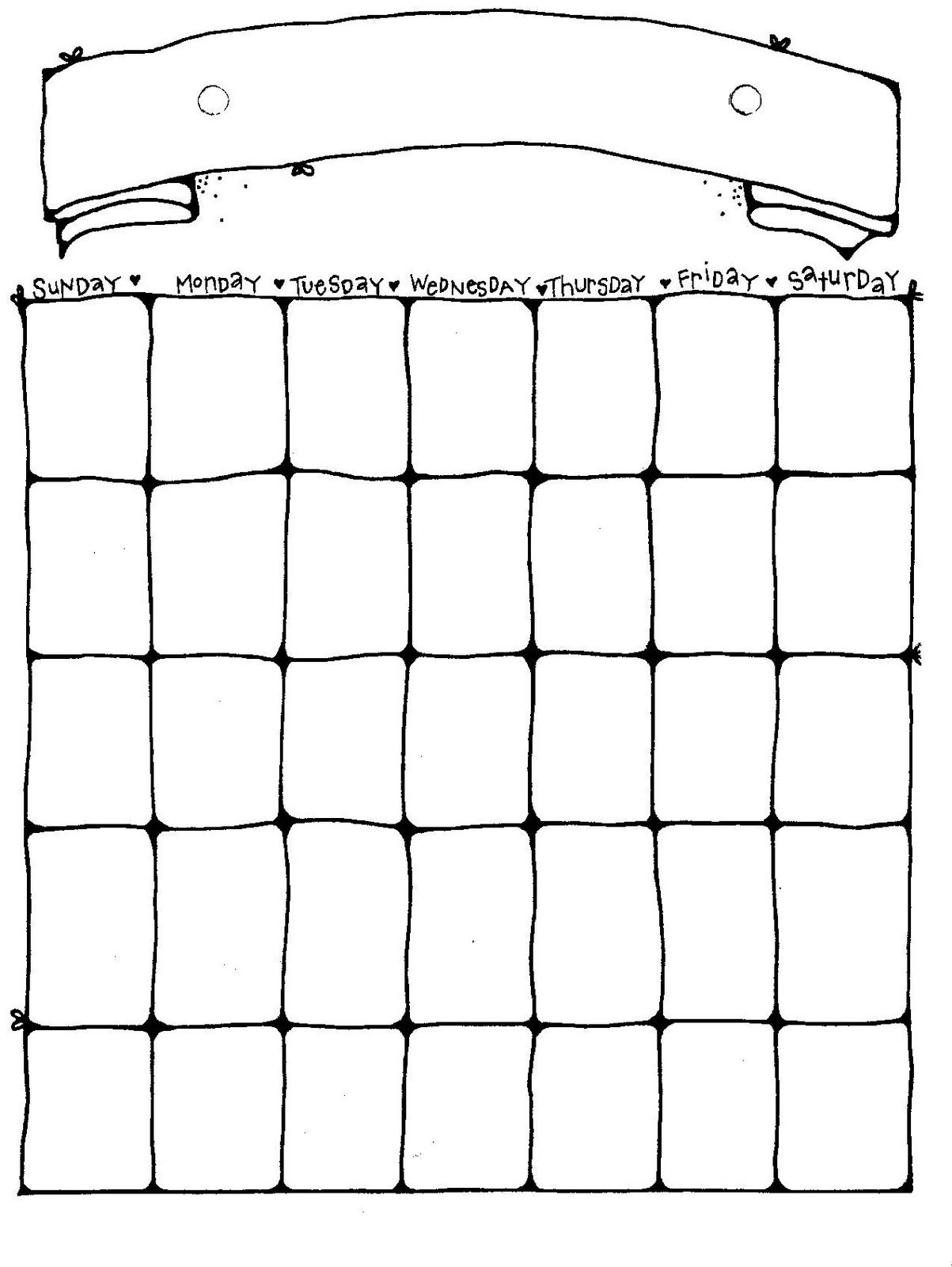 Connie\'s File Cabinet: MONTHLY BLANK CALENDAR PAGES FOR A YEAR ...