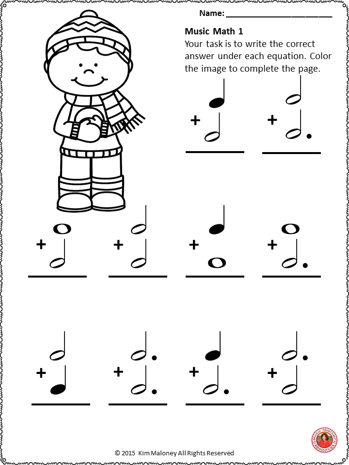 Music Math With A Winter Theme 24 Worksheets Aimed At Reinforcing Students Understanding And Kno Music Math Music Activities For Kids Music Lessons For Kids