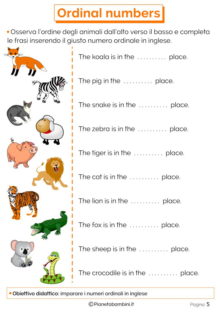 I Numeri Ordinali In Inglese Per Bambini Schede Didattiche Da