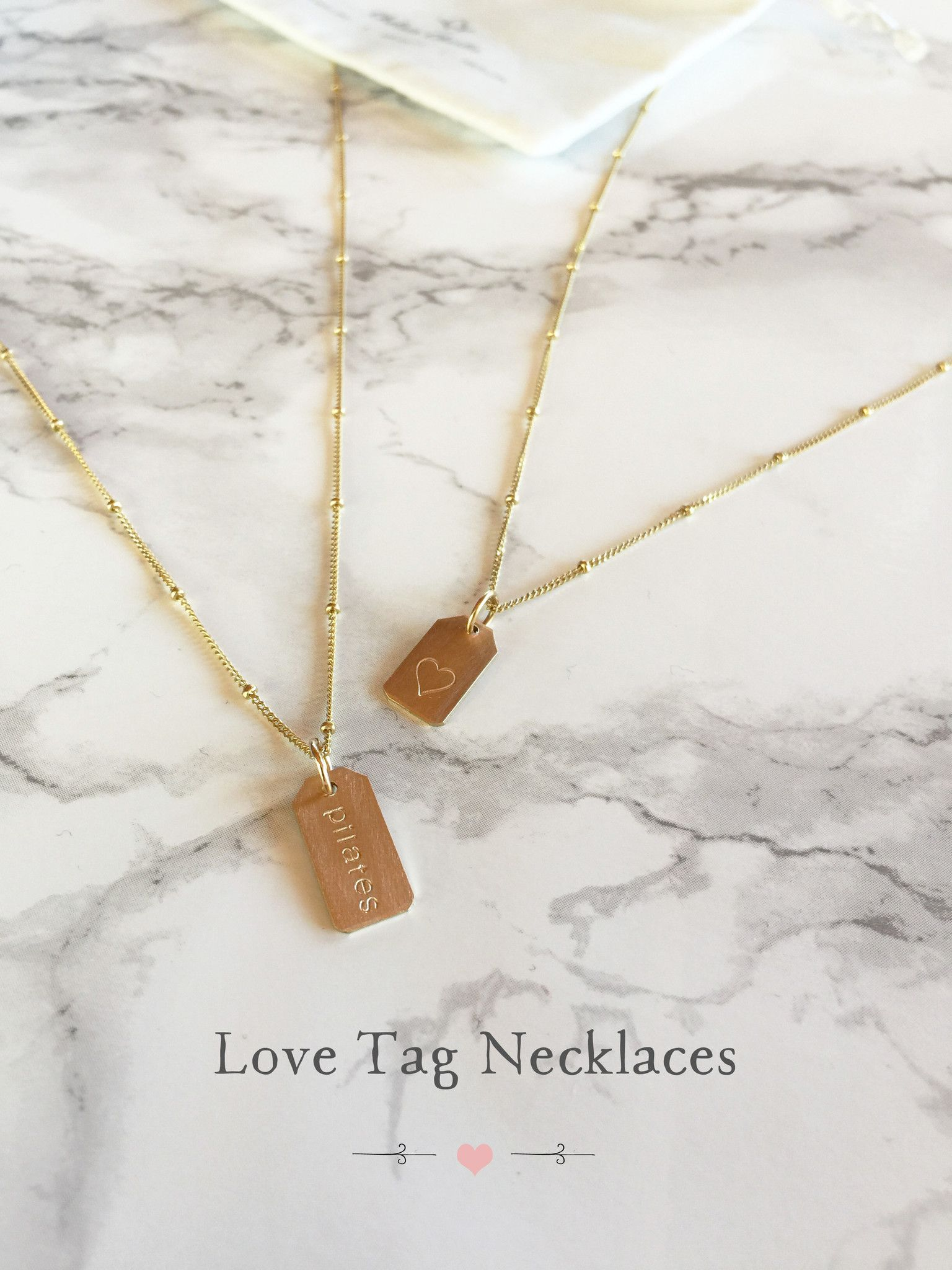 Chelsea Charles Love Tag Necklaces in 14k gold and silver Twosided