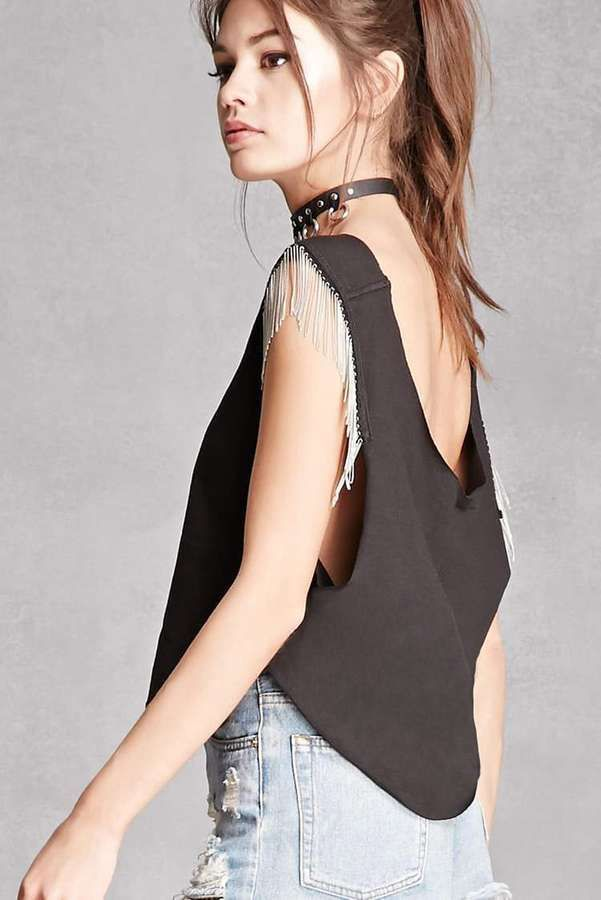 ac1c697bca91b Forever 21 Trendy and Tipsy Chain-Link Top Fringe Tank