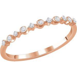 652244 / Set / 14K Rose / Polished / 1/10 CTW Diamond Ring
