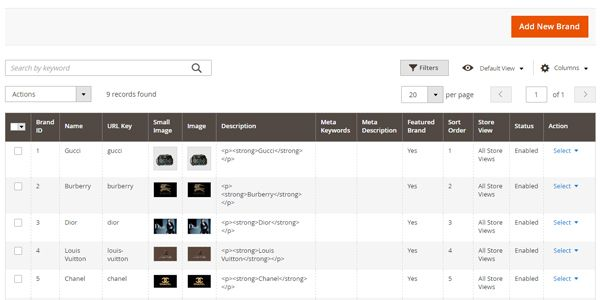 Magento 2 Extensie, Selecteer op merk, Maak nieuwe merken aan