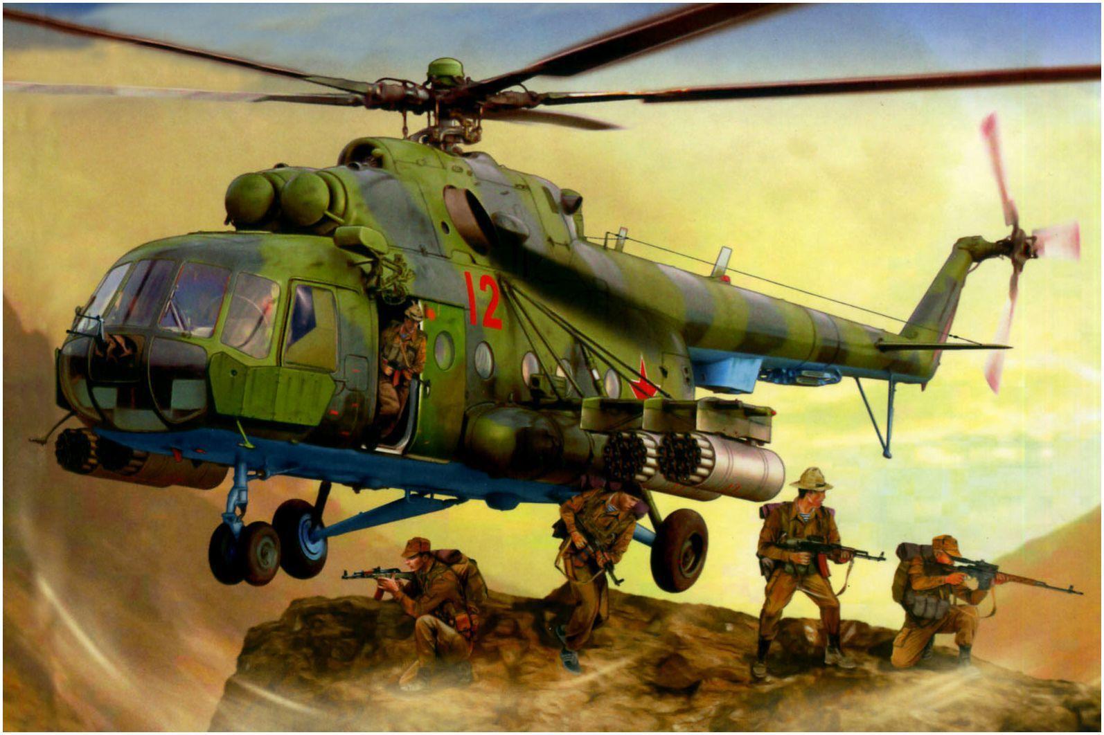 Mil Mi-8 helicopter landing 'Spenaz' in Agfhanistan ...