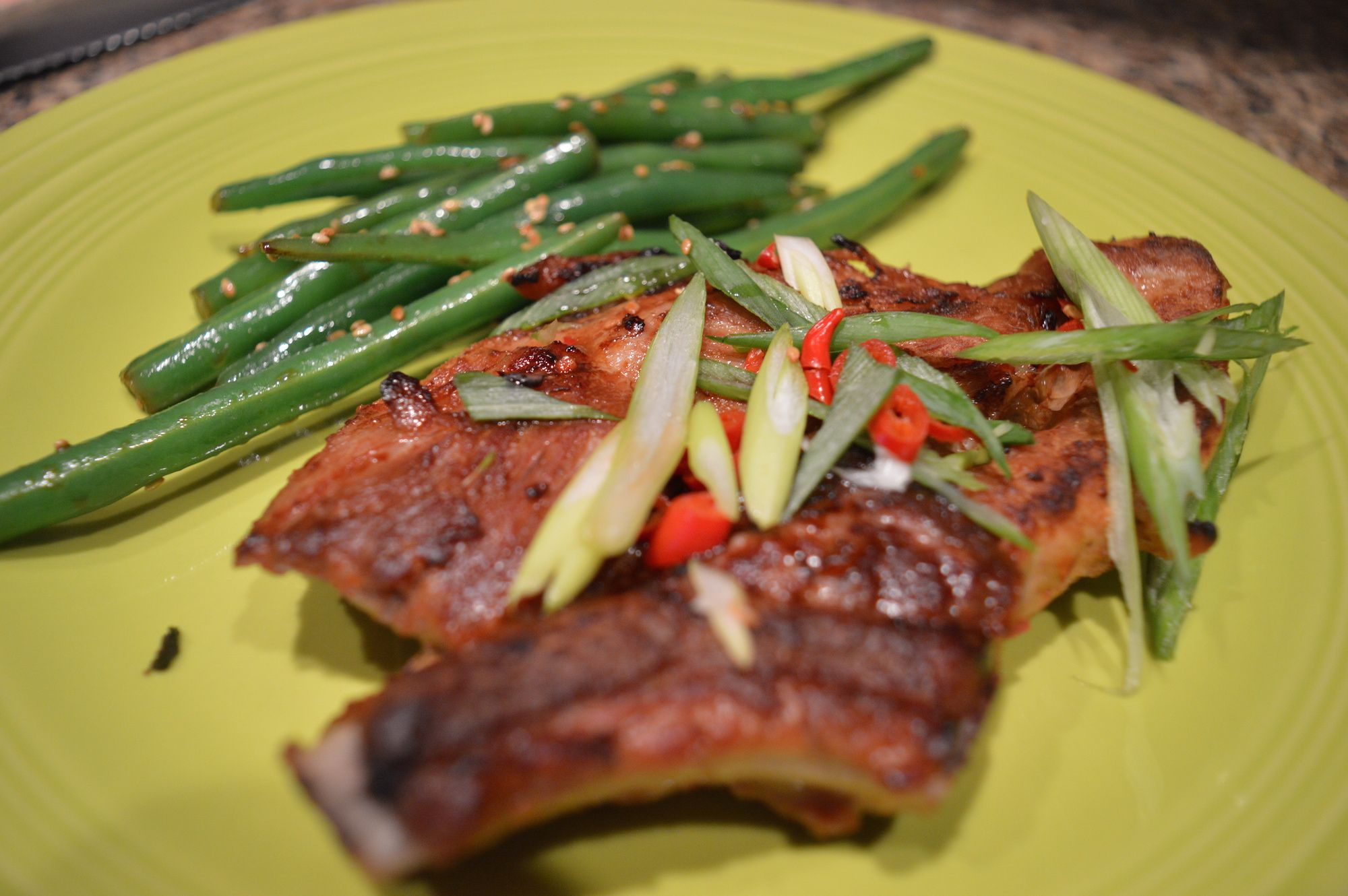 Slow-Roasted Asian Country-Style Pork Ribs with Soy-Ginger Green Beans | www.iatethewholething.com