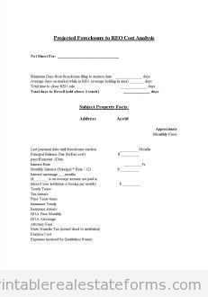 Sample Printable Copy Of Projected Foreclosure To Reo Cost