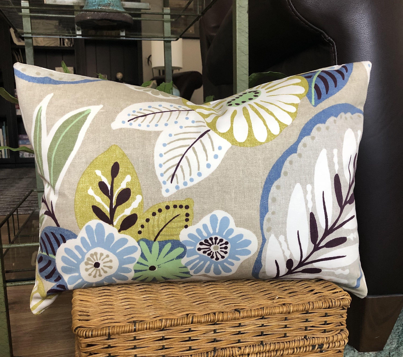 Farmhouse floral decorative designer pillow cover blue