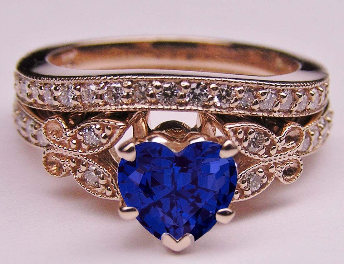 Ring Blue Sapphire Heart Shape Diamond Butterfly Bridal Set