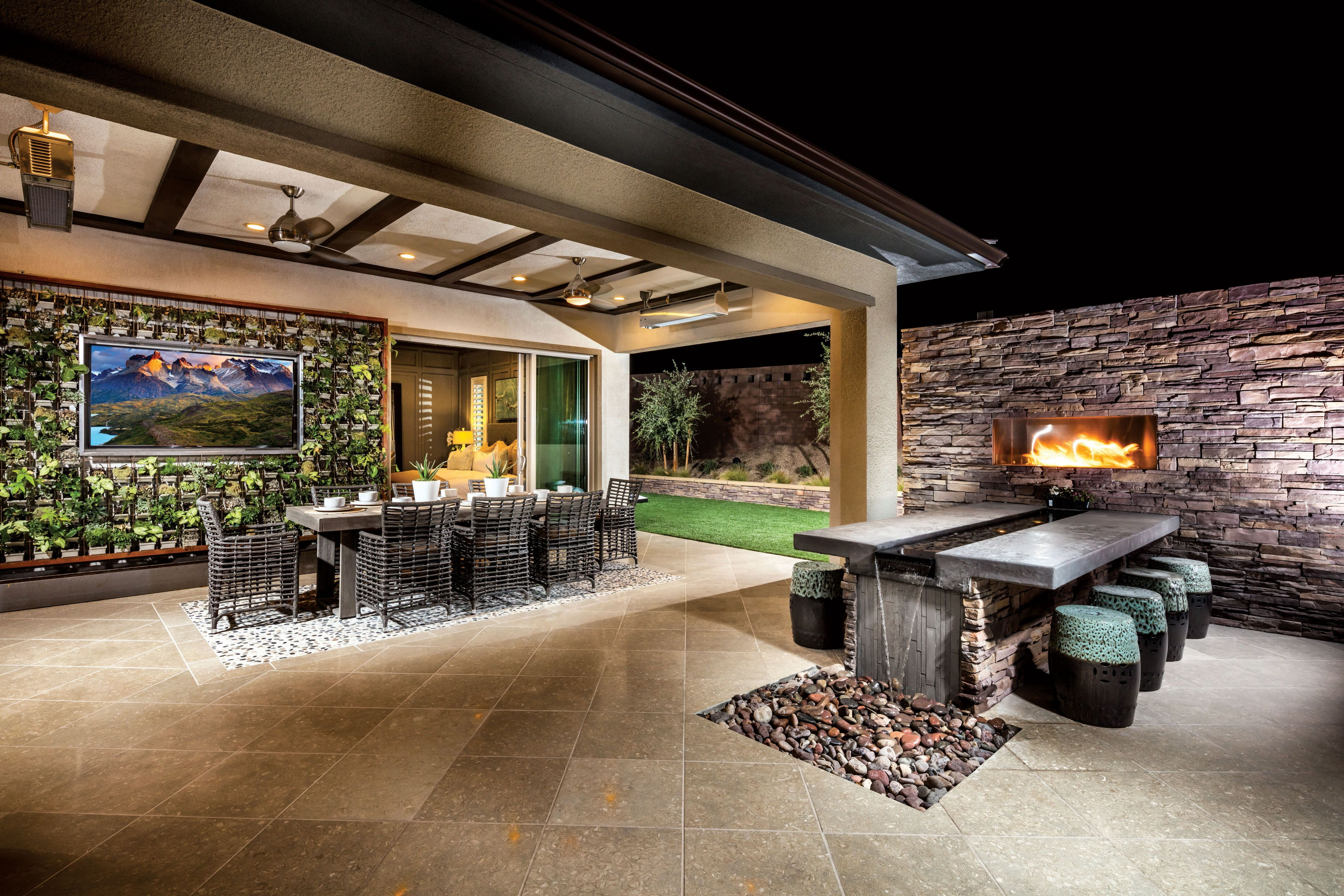 Impress Your Guests With This Magnificent Outdoor Room Coupled With Exquisite Stone Elements And Natural Beauty From Th Backyard Small Backyard Outdoor Kitchen