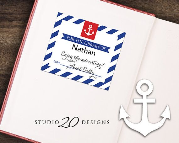 Instant Download Blue Nautical Bookplate Blue by Studio20Designs