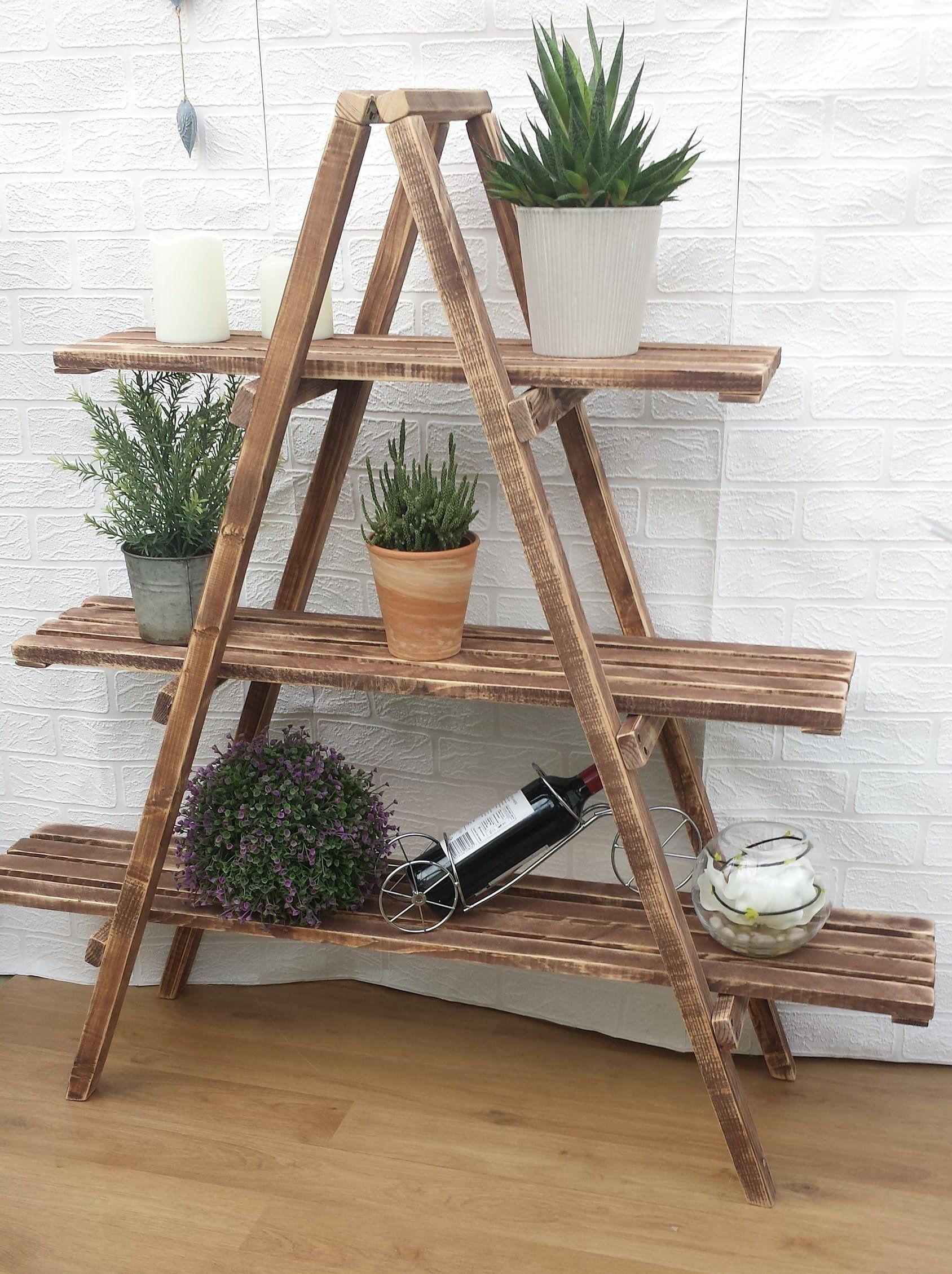 3 Tier Wooden Ladder Shelf Etsy Repisas De Madera Rusticas Muebles De Guacales Muebles Hechos Con Tarimas