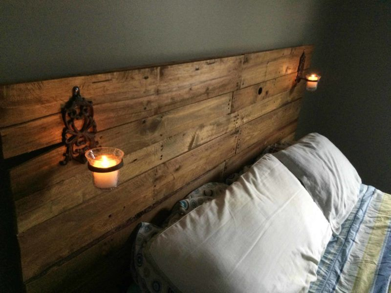 Pretty Plywood Backed Queen Sized Pallet Headboard Pallet Bed