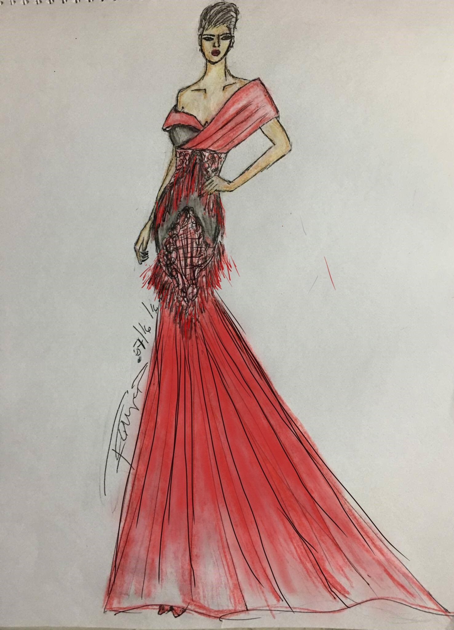 #fashionillustration #fringes #fashiondesign #architecture #structural #ombre #gown #lace