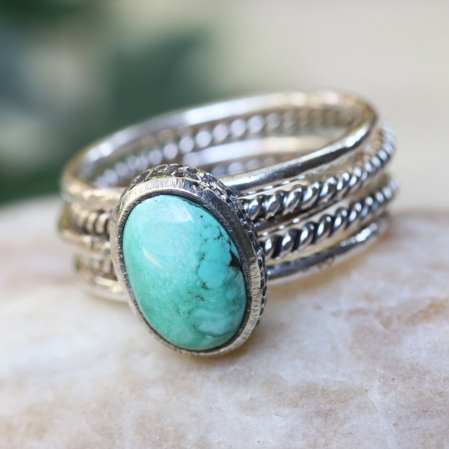 Hand Crafted 925 Sterling Silver SHABLOOL Ring Turquoise Turqouise Nature Style