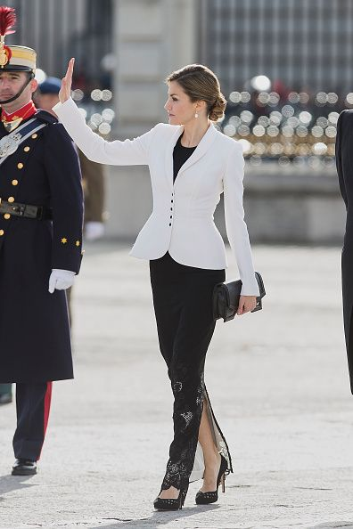 Spanish Royals Celebrate New Year's Military Parade  at the Royal Palace in Madrid, Spain.