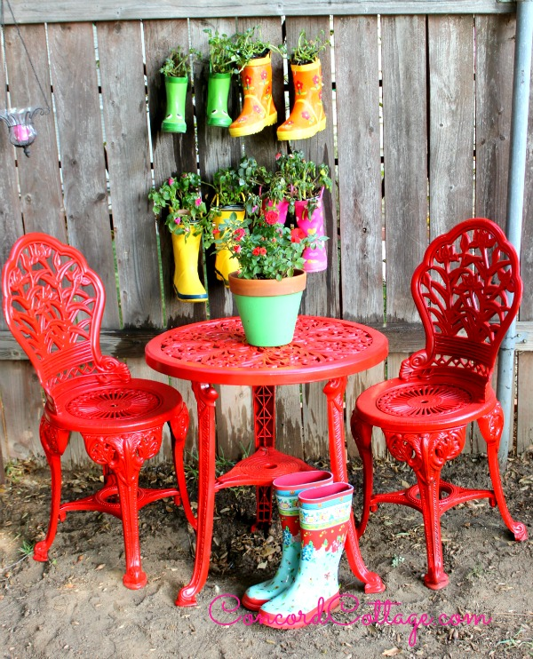 spray painted brightly colored wrought iron patio furniture