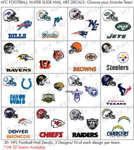 30 Football Nail Decals All Nfl Teams Avail Afc Conference