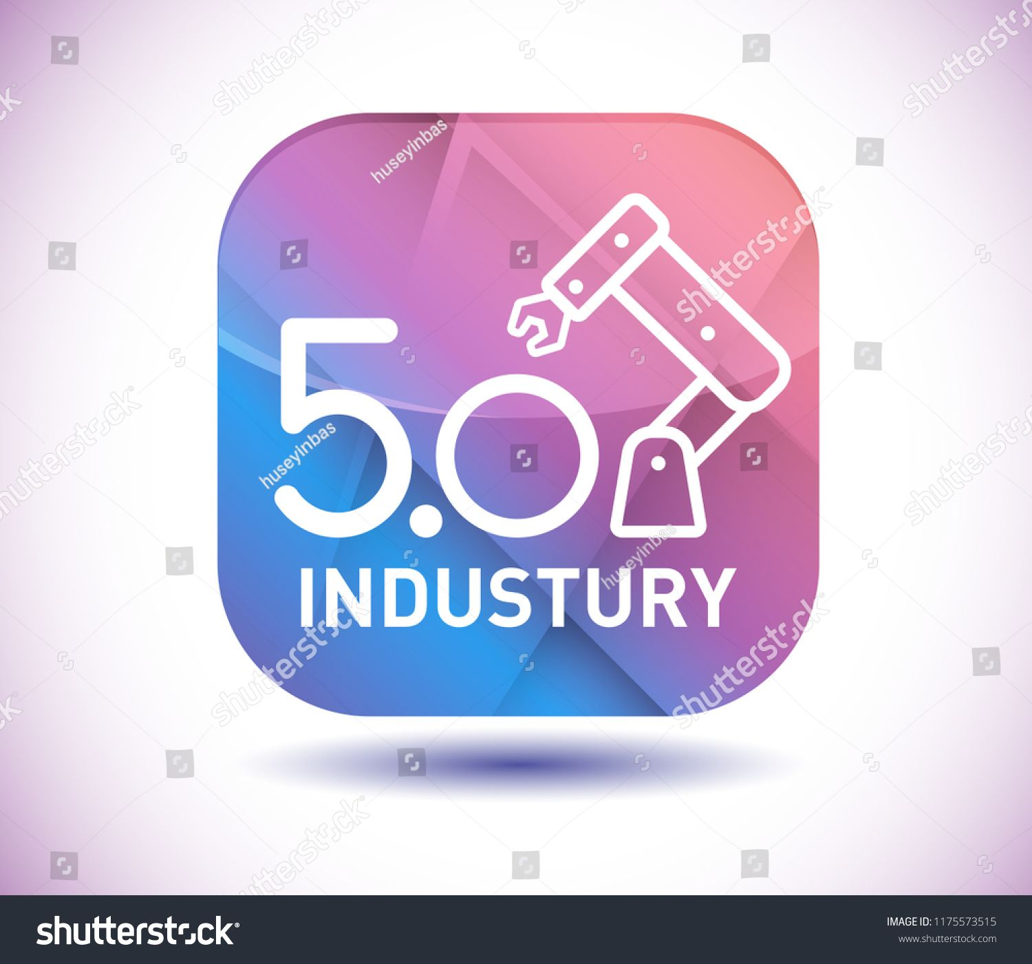 Industry 5.0 icon and vector button Sponsored ,