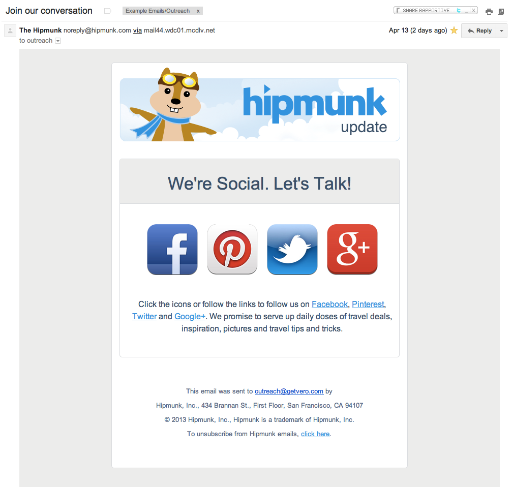 Love This Email Campaign To Gain Followers On Social Media  Lt
