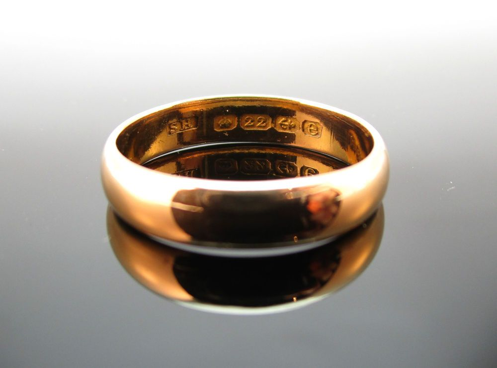 Antique edwardian 22ct gold wedding band ring bham 1904 size us