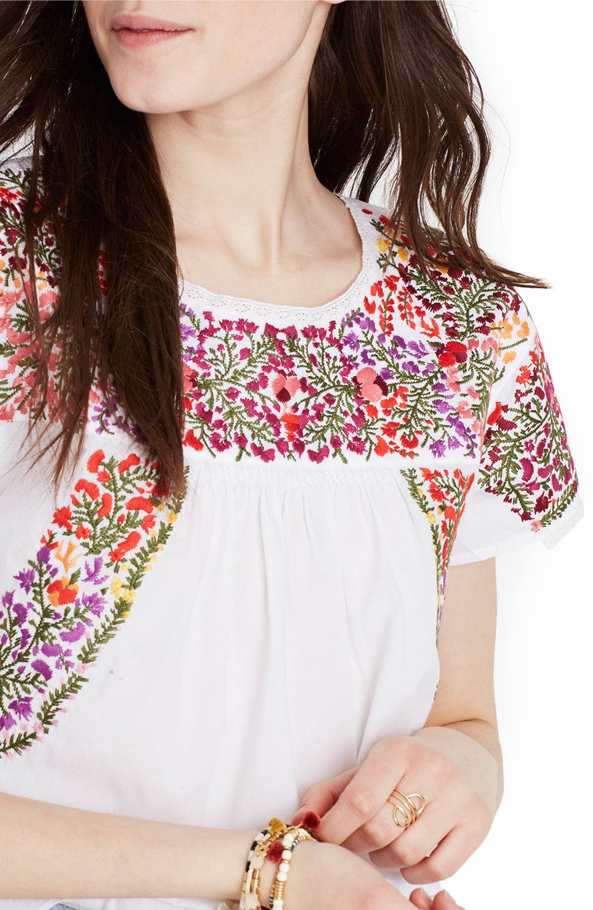 Main Image - Madewell Springtime Embroidered Cotton Top