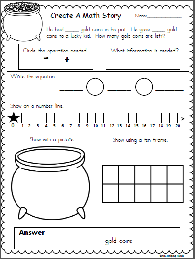 Create A St Patrick S Day Math Story Made By Teachers Math Addition Worksheets Word Problems Kindergarten Math Worksheet