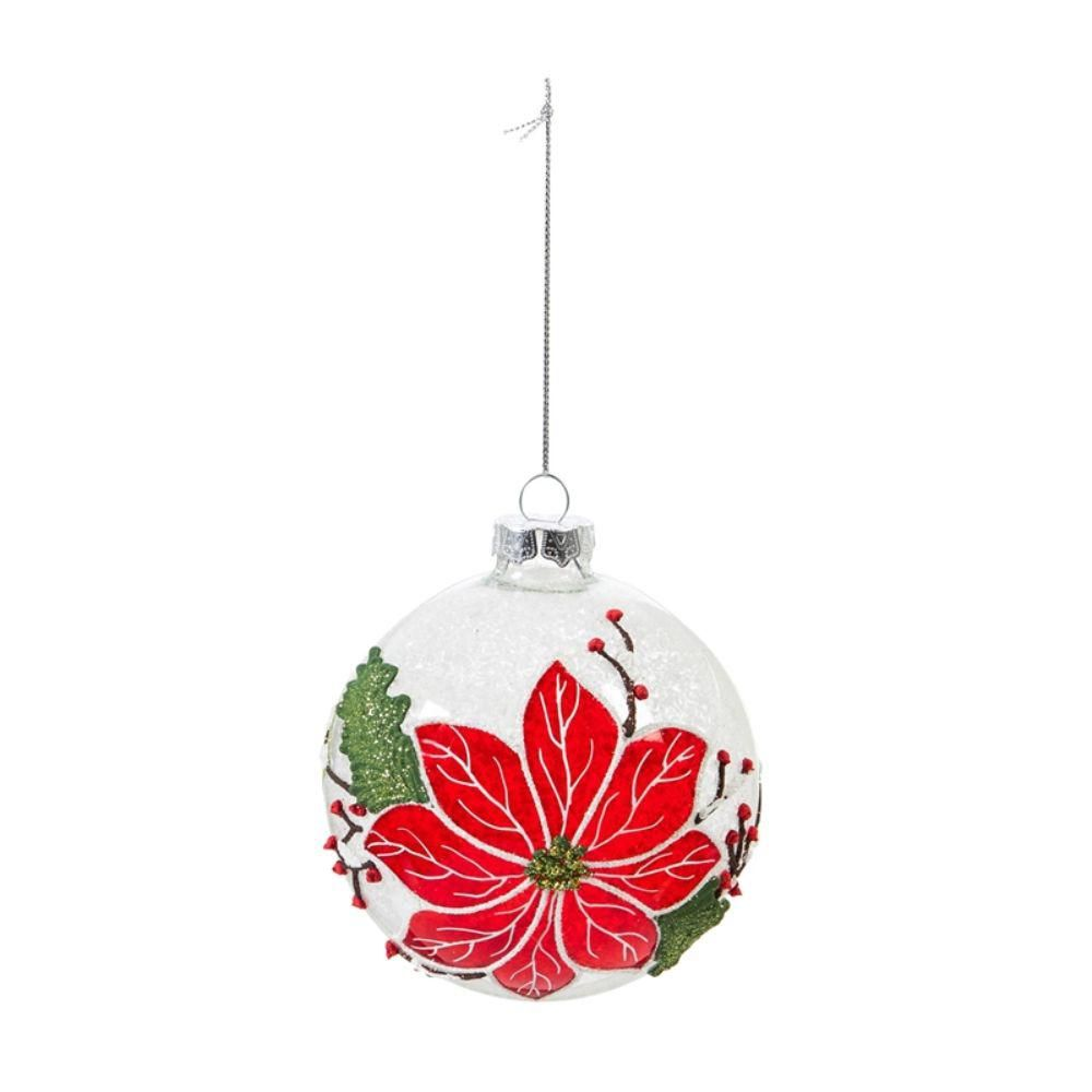 Evergreen 4 In Hand Painted Glass Ball Christmas Ornament With Poinsettia Patt Diy Christmas Tree Ornaments Hand Painted Ornaments Painted Christmas Ornaments