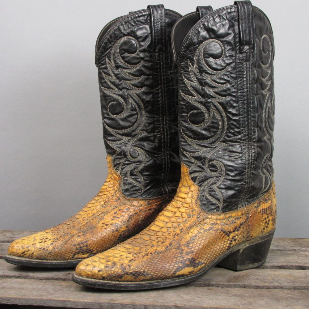 d1f0e40f03c Vintage Acme Exotic Snakeskin Rustic Cowboy Boots | Boot Junkie Man ...