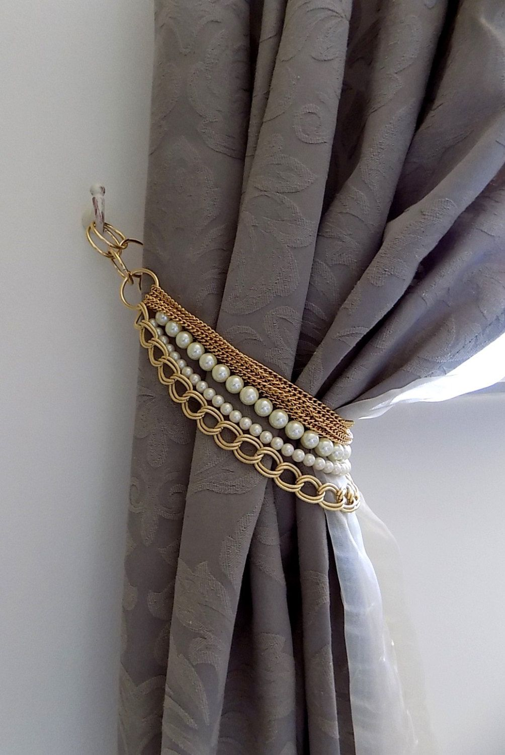 Beaded decorative curtain holder, tie back with golden chain and ... for Curtain Holders Tie Backs  557ylc